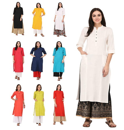 Multi Color Cotton Straight Fit Kurti Collections