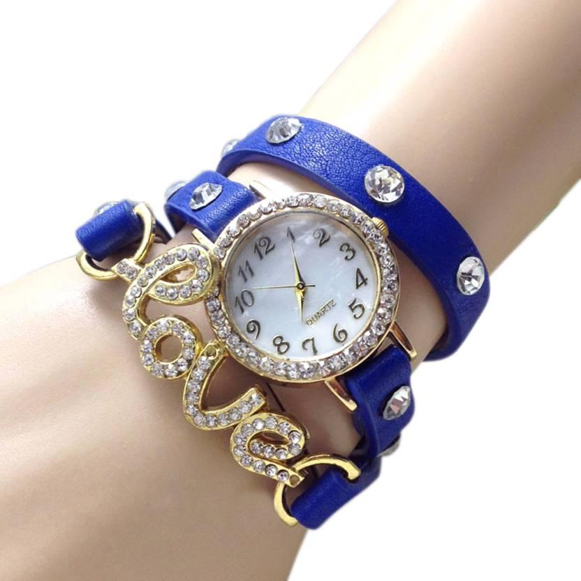Womens Diamond Studded Valentine Love Blue Analog Watch For Girls 1