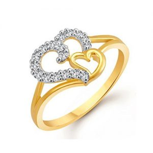 Gold Rhodium Plated American Diamond Ring in Rs. 175
