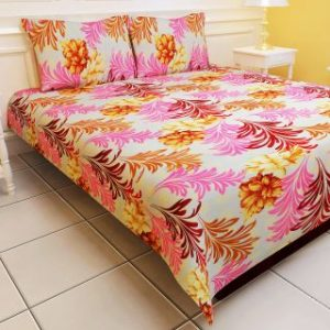 Carah Floral Print Double Bedsheet With Two Pillow Covers