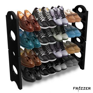 Frazzer Stackable Shoe Rack Storage 12 Pair 4 Layer with 4 shoe bags free