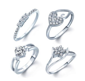 Rhodium Plated 4 CZ Rings For Women in Rs. 239