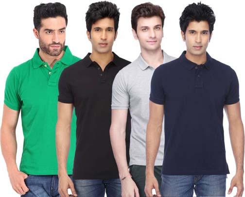 4 Mens Polo Neck Multicolor T Shirts