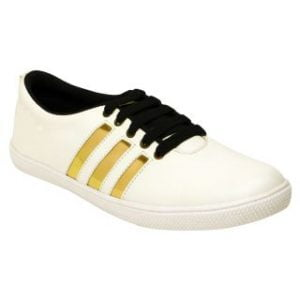 Clymb Mens Addy White Gold Casual Shoes