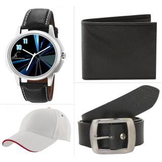 Combo of Watch Wallet Belt Cap in Rs. 199