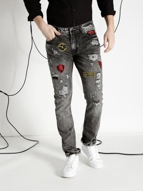 Ecko Unltd Men Black Slim Fit Distressed Jeans