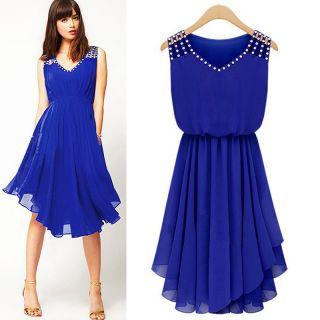 Fashion temperament Diamond Pleated V neck strap Slim Asymmetric Dress By Klick2Style