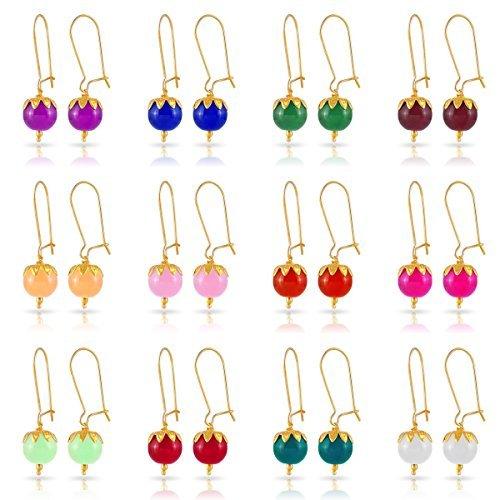 Kiwi Kreation 12 Pairs Of Handmade Multi Color Earrings For Girls