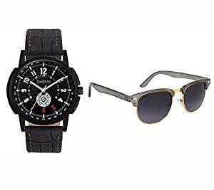 LimeStone Black Dial Wrist Watch with Sunglass