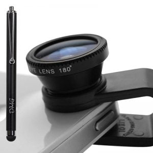 DMG Universal Clip On 3 in 1 Mobile Cell Phone Camera Lens Kit 180 Degree Fisheye Lens 0.67X Wide Angle 10X Macro Lens With 2 Lens Clip Holders