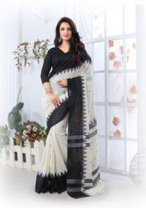 Navy Silk Printed Saree