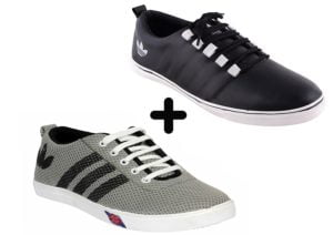 shoebox mens combo pack black sneakers and grey casuals shoes