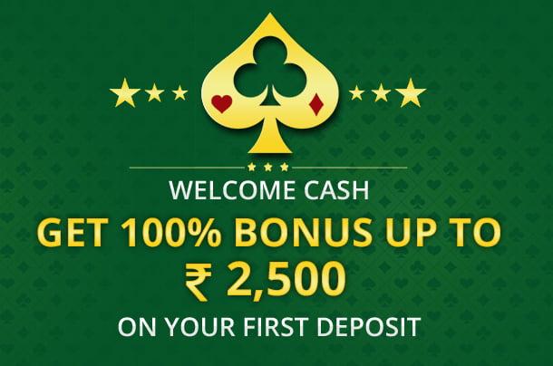 100 Bonus Welcome Cash Upto 2500 at RummyVilla