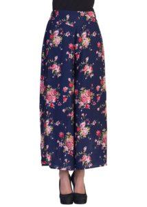 2DAYs Fashion Women Stylish Multi Floral with Blue base Print Plazzo Pant