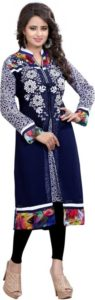 Alberts Festive Party Embroidered Womens Kurti Blue