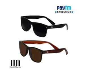 David Martin 2 Black Brown Wayfarer Sunglass
