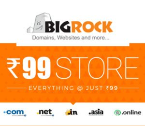 Domain Hosting and Website Everything in Rs. 99 at Bigrock.in