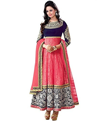 Varibha Womens Branded Indian Style Net Pink Salwar Suit Dress Material Holi Offers Discount Best Gift For Mom Wife Sister