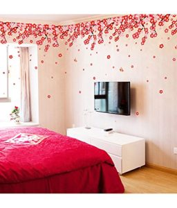 Decals Design Flowers Pink and Red Romantic Cherry Wall Sticker PVC Vinyl 50 cm x 70 cm