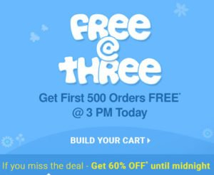 Get 100 Off on 500 Orders on Free@Three Sale
