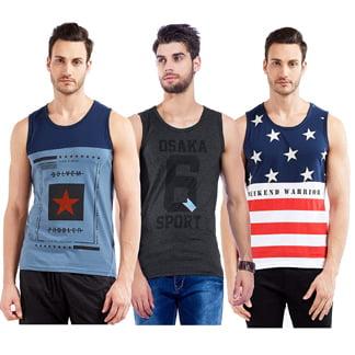 Maniac Branded Printed Mens Vest Combo offer Pack of 3