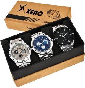 Xeno Metal Stylish Titanium Analog Watchs Pack of 3