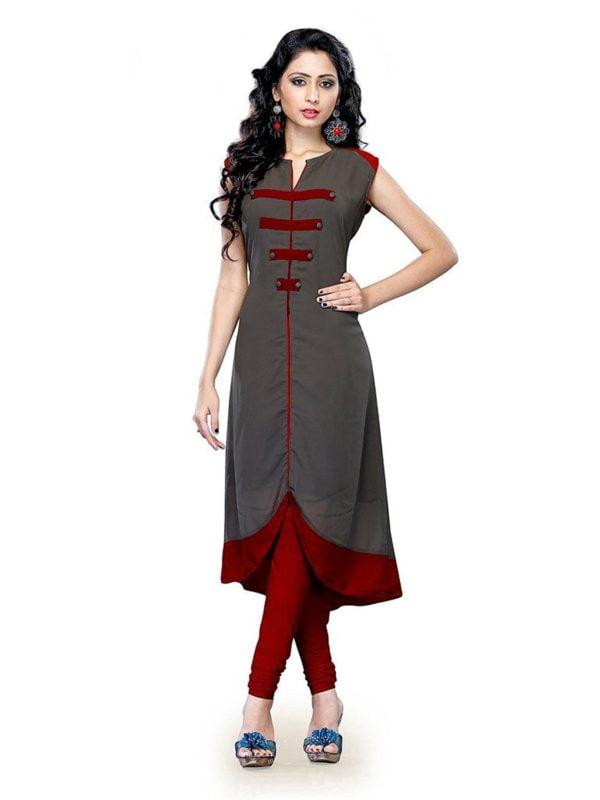 Kenil Fabrics Womens Cotton Kurti Ken Gray Grey Free Size