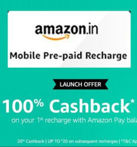 Mobile Recharge With Amazon and Get 100 Cashback