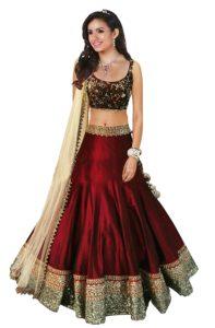 Vaankosh Fashion Womens Cotton Lehenga red Free Size