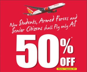 50 Discount for student and senior citizens on Air India