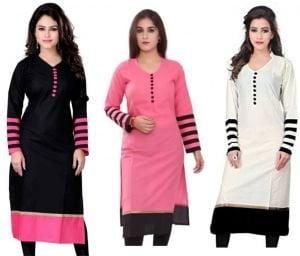 Kesari King WomenS Cotton Set Of 3 Kurti10333536 BlackPinkWhite Free Size
