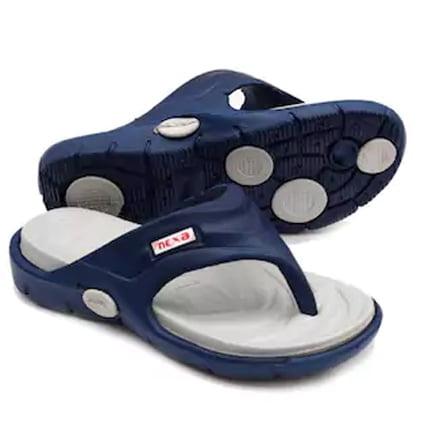 Nexa Mens Grey and Blue Slippers FREE