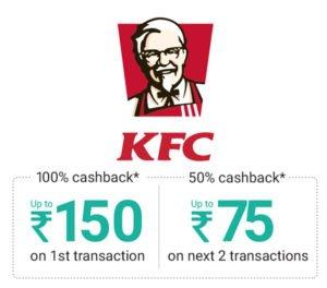Get 100 Cashback on Order at KFC Outlet