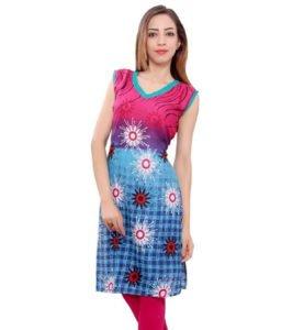 Rani Blue Premium Cotton Rayon Kurti Material