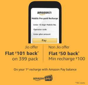 Rs 101 Cashback on Jio Rs. 399 Recharge by Amazon