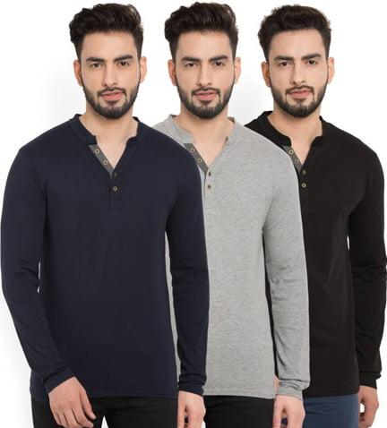 3 Solid Men Henley Multicolor T Shirt