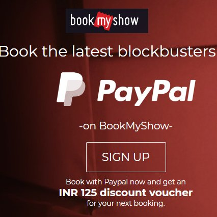 Free Rs. 125 Book My Show voucher with Paypal