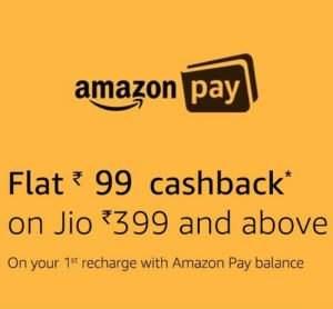 Get Rs. 99 Cashback on Jio Rs. 399 Recharge