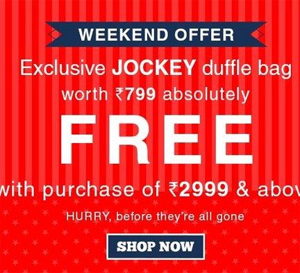 Get Jockhey Bag on Purhchage above Rs