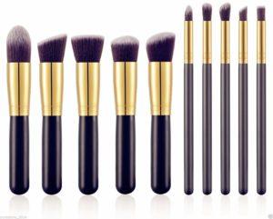 Premium Kabuki Makeup Brush Set 10 Brushes Storage Pouch
