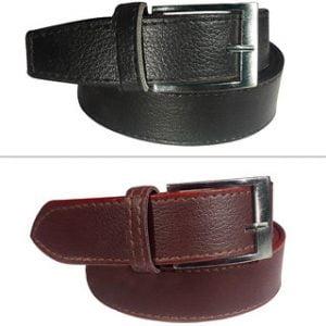 2 Black Brown Leatherite Belt For Men