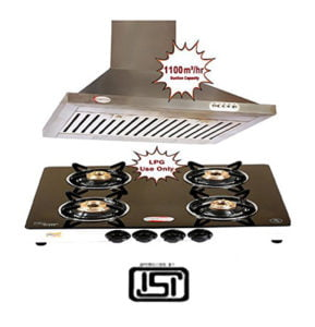 4 Burner Gas Stove Kitchen Chimney