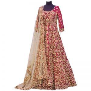 Aryan Fashion Women Banglory Silk Anarkali Semi Stitched Salwar Suit AFS AGAEV11144 Pink Free Size