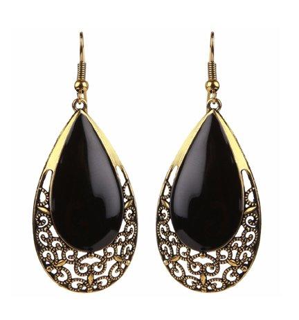 Efulgenz Oxidised Black Gold Party Wear Danglers Earrings