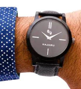 Kajaru Round Black Leather Strap Men Watch
