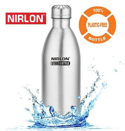 Nirlon Stainless Steel Water 1 Litre Silver Bottle