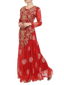 Red Nylon Fit Flare Gown111