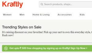 Sign Up Get Rs. 500 Free Shopping at Kraftly 2018