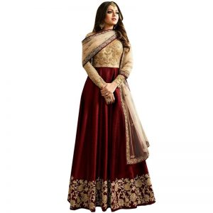 Styles Closet Maroon Bangalory Silk Embroidered Anarkali Suit for women