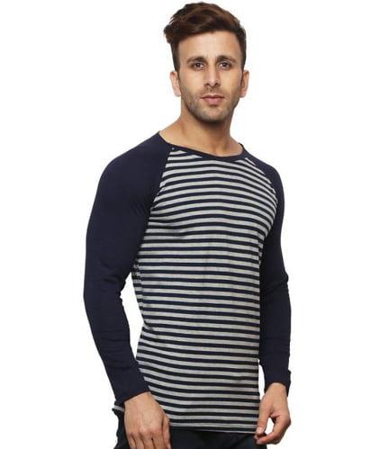 Leana Striped Men Henley lining Blank T Shirt